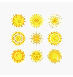 Set of yellow sun beams and flowers icons vector