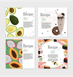 Set recipe template cards few kinds dishes vector