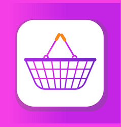 shopping basket icon flat style plastic shopping vector image
