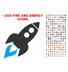 Space rocket launch icon with bonus energy clipart vector