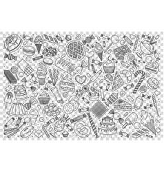 Sweets food doodle set vector