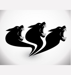 three heads wolf sign vector image