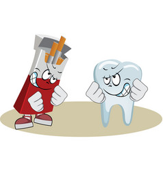 Tooth boxing with pack of cigarettes vector