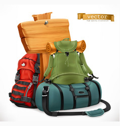 Tourist backpack and bag travel 3d icon vector