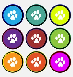 trace dogs icon sign Nine multi colored round vector image