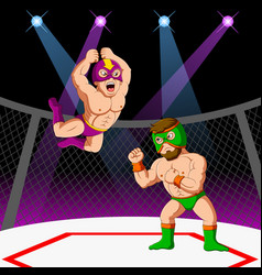 Two men with mask fighting mixed martial arts vector