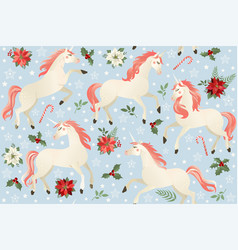 unicorns on a christmas floral background vector image