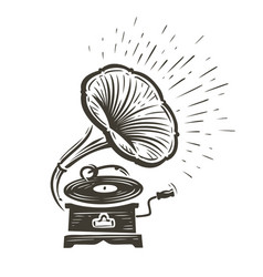 vintage musical gramophone playing a song music vector image