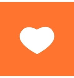 White valentines heart on a orange background vector image