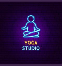 yoga studio neon label vector image