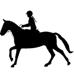 young woman riding horse silhouette equestrian vector image