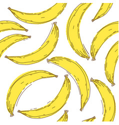 banana seamless pattern endless yellow bananas on vector image vector image