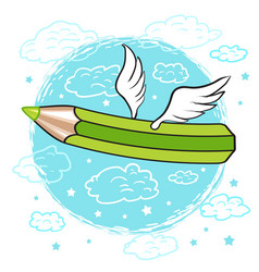 cartoon colored pencil with wings in the clouds vector image