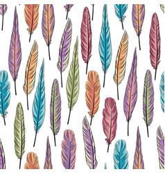 feather seamless pattern birds feathers over vector image vector image