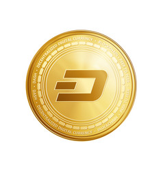 golden dash blockchain coin symbol vector image