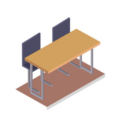 school desk with chairs three dimensional vector image vector image