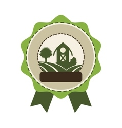 seal stamp with farm barn icon vector image