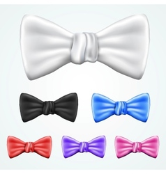 Set of 6 bowties in different colors vector image vector image