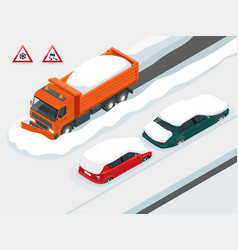 Snow plough truck clearing road after white-out vector