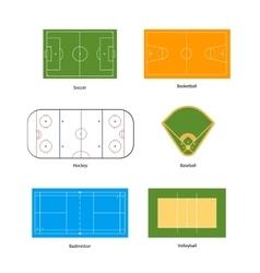 Sport fields marking for soccer basketball vector image