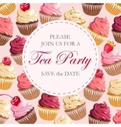 Tea party invitation vector image