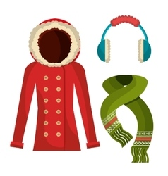 Winter wear clothes and accesories vector image
