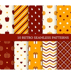 10 retro different seamless patterns Autumn theme vector image