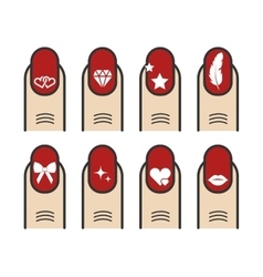 Manicure with nail art icons set vector image