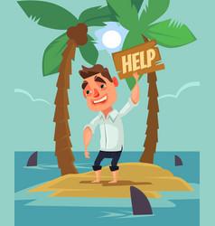 office worker man character lost desert island vector image