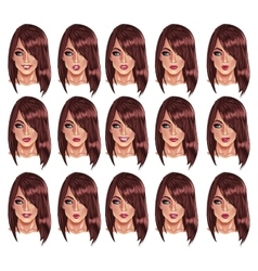 Portraits of beatuful woman with brown hair vector image