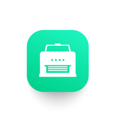 printer icon sign on green shape vector image vector image