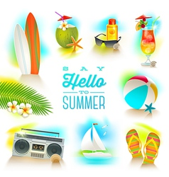 Set of summer and beach vacations elements vector image vector image