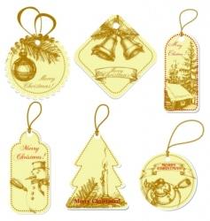 vintage christmas tags vector image vector image