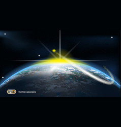 Earth space ads template cosmic stars lights vector