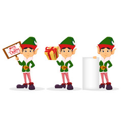 elf set of three poses vector image vector image