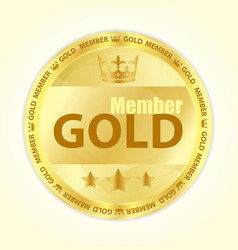 Gold member badge with royal crown and three vector image vector image