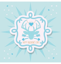 Happy Valentines Day blue hipster dear emblem vector image