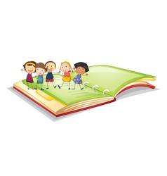 kids and book vector image vector image