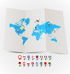 World map on old map and flags of different vector image vector image