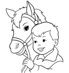 cute little girl riding a horse vector image
