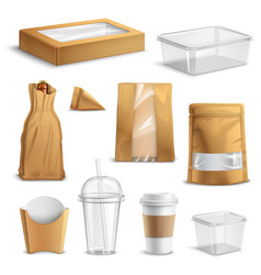 fastfood takeaway packaging realistic set vector image vector image