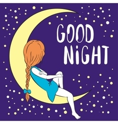 Good night greeting card vector image vector image