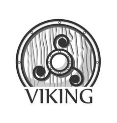 wooden viking shield vector image vector image