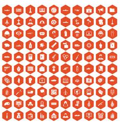 100 war icons hexagon orange vector image