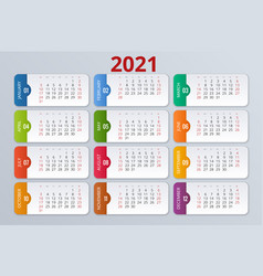 2021 calendar print template with place for photo vector image