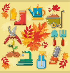 autumn agricultural icons with autumn leaves 1 vector image