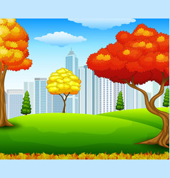 autumn city park with building background vector image