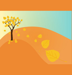 autumn tree with falling leaves on hill vector image