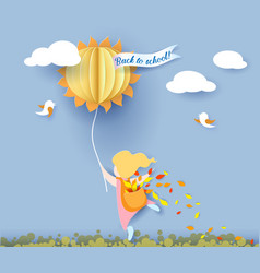 Back to school card with girl leaves and sun vector