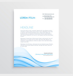 blue letterhead design in wave style vector image